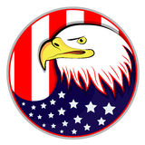 Eagle avec le drapeau américain Photo stock