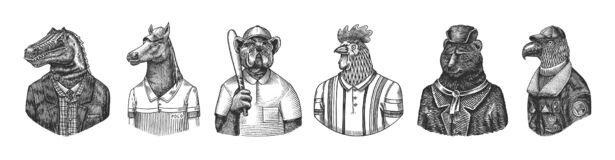 Eagle aviator pilot. Rooster tennis player Bear in Russian fur coat and hat. Dog bulldog baseball player. Dinosaur tyrex
