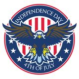 Eagle badge of independence day of united states Stock Photos