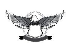eagle and badge symbol for logo and emblem design on white backg