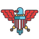 Eagle, bald, usa flat line illustration, concept vector isolated icon Royalty Free Stock Image