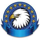 Eagle Banner Blue. Eagle banner with banner and gold stars Stock Photography