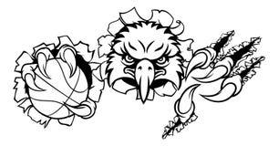 Eagle Basketball Cartoon Mascot Ripping-Achtergrond royalty-vrije stock fotografie