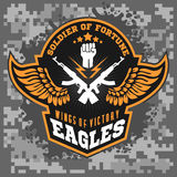 Eagle beflügelt - Militär beschriftet, Ausweise und Design Stockfotos