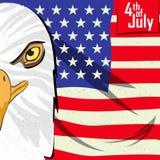 Eagle Bird dans le 4ème du Jour de la Déclaration d'Indépendance heureux de juillet du fond de l'Amérique Photographie stock