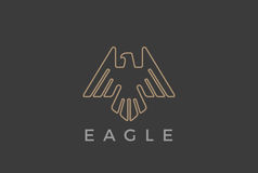 Eagle Bird flying Logo design vector template Linear luxury heraldic style.Falcon Hawk soaring outline Logotype icon Stock Images