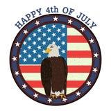 Eagle Bird in quarto della festa dell'indipendenza felice di luglio del fondo dell'America Fotografie Stock Libere da Diritti