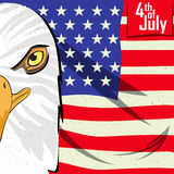 Eagle Bird in 4th of July Happy Independence Day of America background Stock Photography