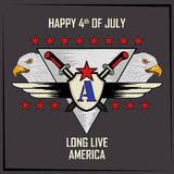 Eagle Bird in 4th of July Happy Independence Day of America background. In vector vector illustration