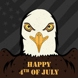 Eagle Bird in 4th of July Happy Independence Day of America background. In vector stock illustration