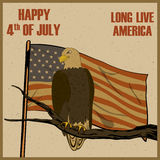 Eagle Bird in 4th of July Happy Independence Day of America background. In vector royalty free illustration