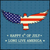 Eagle Bird in 4th of July Happy Independence Day of America background. In vector Stock Photos
