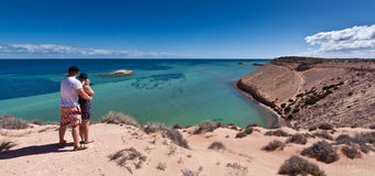 Eagle Bluff - Shark Bay World Heritage Area. The stunning clear waters and cliffs at Eagle Bluff at Shark Bay in the World Heritage Listed Area make a  serene Royalty Free Stock Photography