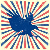 Eagle burst background. Detailed illustration of ta bald eagle silhouette in front of a grungy burst backbround Stock Image