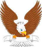 Eagle cartoon with blank sign Royalty Free Stock Images