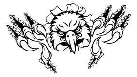 Eagle Cartoon Sports Mascot Ripping bakgrund royaltyfri illustrationer