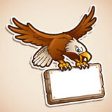 Eagle catching a sign. Cartoon illustration of eagle catching a blank sign Royalty Free Stock Image