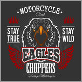 Eagle and Choppers - T-shirt print for motorcycle club on dark background Stock Images