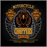 Eagle and Choppers - T-shirt print for motorcyle club on dark background Royalty Free Stock Image