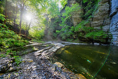 Eagle Cliff Falls, Finger Lakes, NY. Eagle Cliff falls at Havana Glen in New York. A beautiful short gorge in the Finger Lakes region Royalty Free Stock Photography