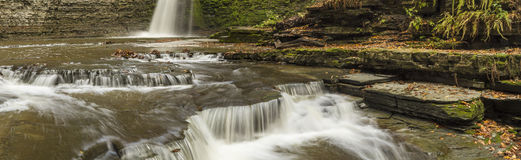 Eagle Cliff Falls Panorama. Panoramic image of Eagle Cliff Falls cascades into an amphitheatre with lots of shelves and levels in Havana Glen in Montour Falls Stock Photo