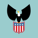 Eagle and coat of arms of USA. American national symbol. Birds royalty free illustration