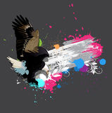 Eagle on Colorful Grunge Floral Splash Background Royalty Free Stock Photo
