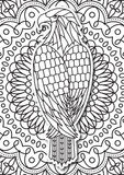 Eagle - coloring page for adults in ethnic style. Vector Hand drawn monochrome sketch Royalty Free Stock Photo