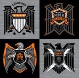 Eagle con las insignias de la cresta del escudo ilustración del vector
