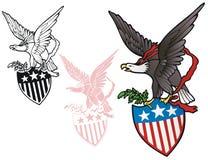 Eagle con lo schermo Fotografie Stock Libere da Diritti
