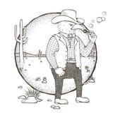 Eagle cowboy coloring page Royalty Free Stock Image