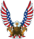 Eagle criard avec le drapeau américain s'envole le clipart (images graphiques) de vecteur Photo stock