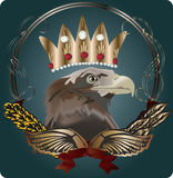 Eagle in crown on dark background Stock Images