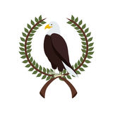 Eagle in crown formed with olive branch. Illustration Royalty Free Stock Image