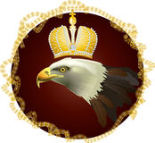 Eagle with crown in gold frame Royalty Free Stock Photo