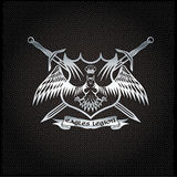 Eagle with crown and swords crest on metal background Stock Photography