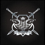 Eagle with crown and swords crest on metal background Stock Images