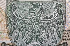 Eagle, das Emblem von Polen stellte auf Zlotybanknotenmakro dar Stockbilder