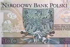 Eagle, das Emblem von Polen stellte auf Zlotybanknotenmakro dar Stockbild