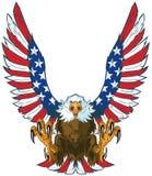 Eagle de griterío con la bandera americana se va volando el clip art del vector