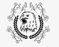 Eagle decoration. Eagle with natural decoration leave Royalty Free Stock Photo