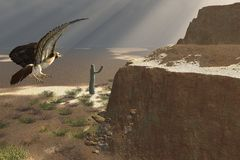 Eagle in the desert Royalty Free Stock Photography