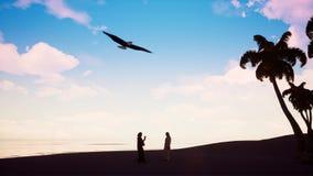 Eagle die over de Arabier op de oceaan omcirkelen stock illustratie