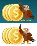 Eagle and  Dollar coins. On dark  and white background. Cartoon styled vector illustration. Elements is grouped and divided into layers for easy edit Stock Photo