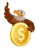 Eagle and  Dollar. Eagle holds dollar symbol. Cartoon styled vector illustration.  Elements is grouped and divided into layers for easy edit Stock Photo