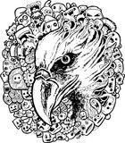 Eagle doodle cartoon - hand drawing Stock Image