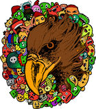 Eagle doodle cartoon - hand drawing Royalty Free Stock Image
