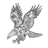 Eagle doodle. Hand drawn illustration Eagle was created in doodling style in black and white colors. Painted image is isolated on white background vector illustration