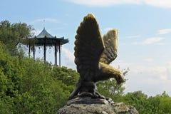 Eagle e o mandril chinês Emblemas de Pyatigorsk Caucas do norte Fotografia de Stock