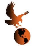 Eagle on earth. Eagle holds a globe logo isolated stock illustration